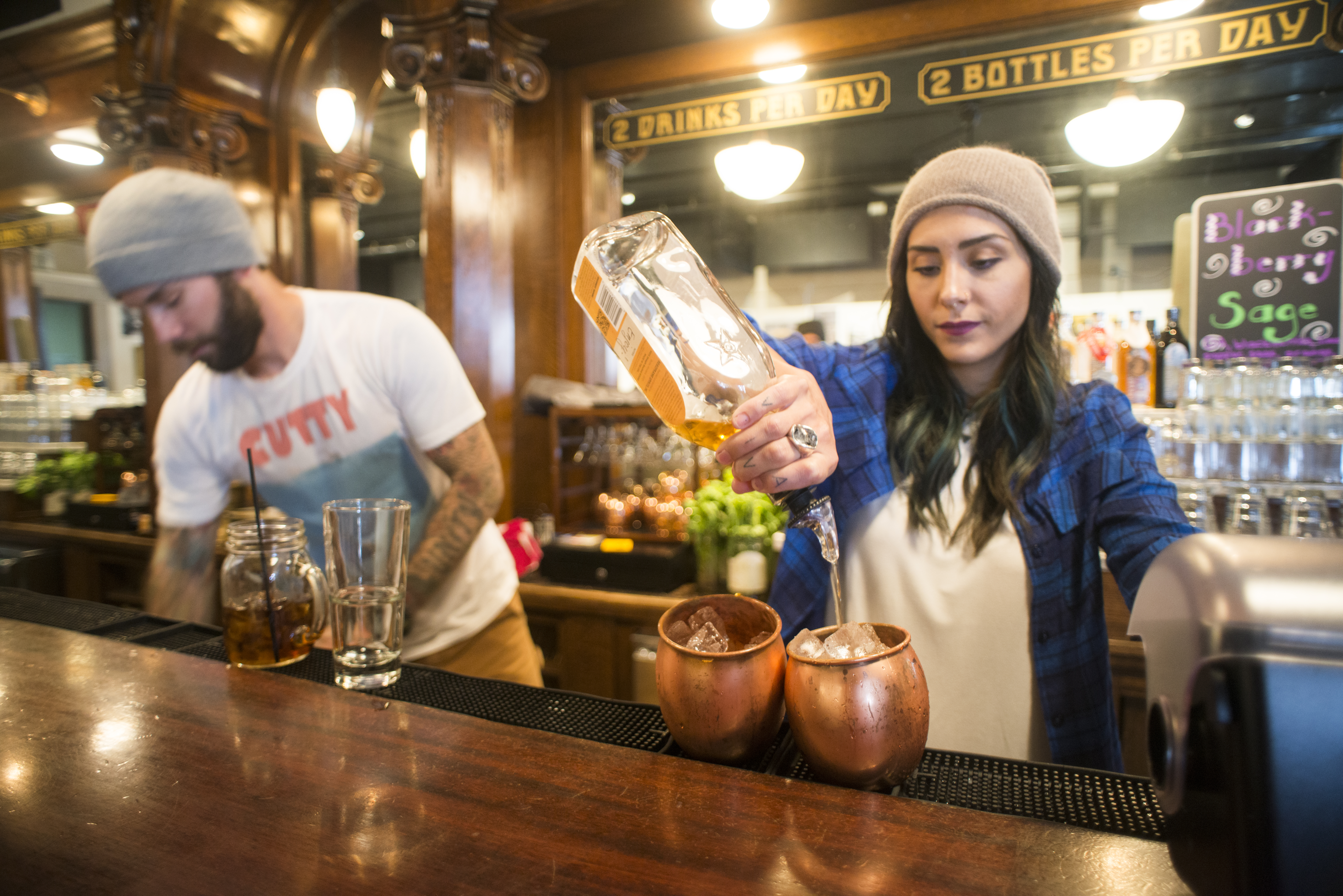 Alexandria Canavan makes Montucky Mules, the Montana version of the Moscow Mule, with bourbon in place of vodka, at Headframe Spirits.