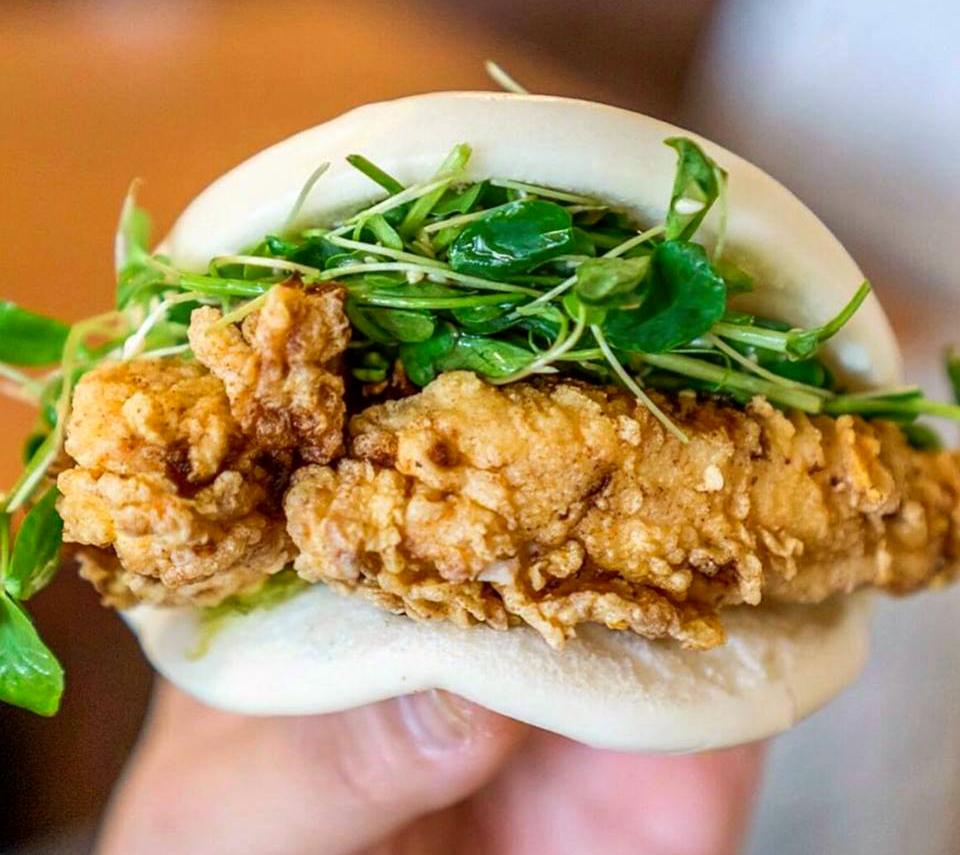 Fried chicken bao at Flock & Fowl. (Photo by Amelinda B Lee)