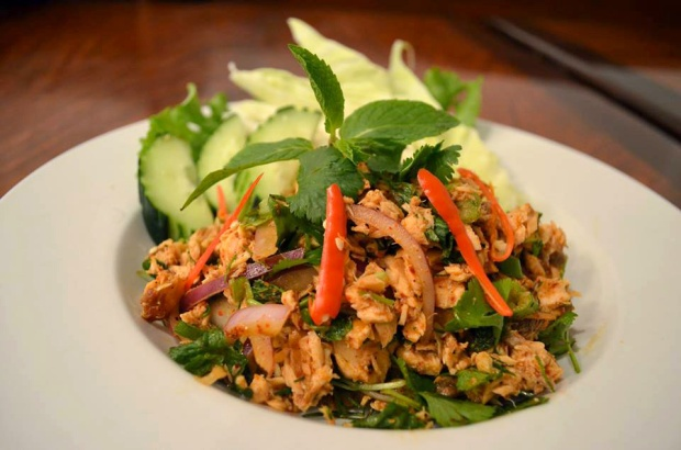 Salmon larb. (Photo courtesy of Lotus of Siam Facebook page)