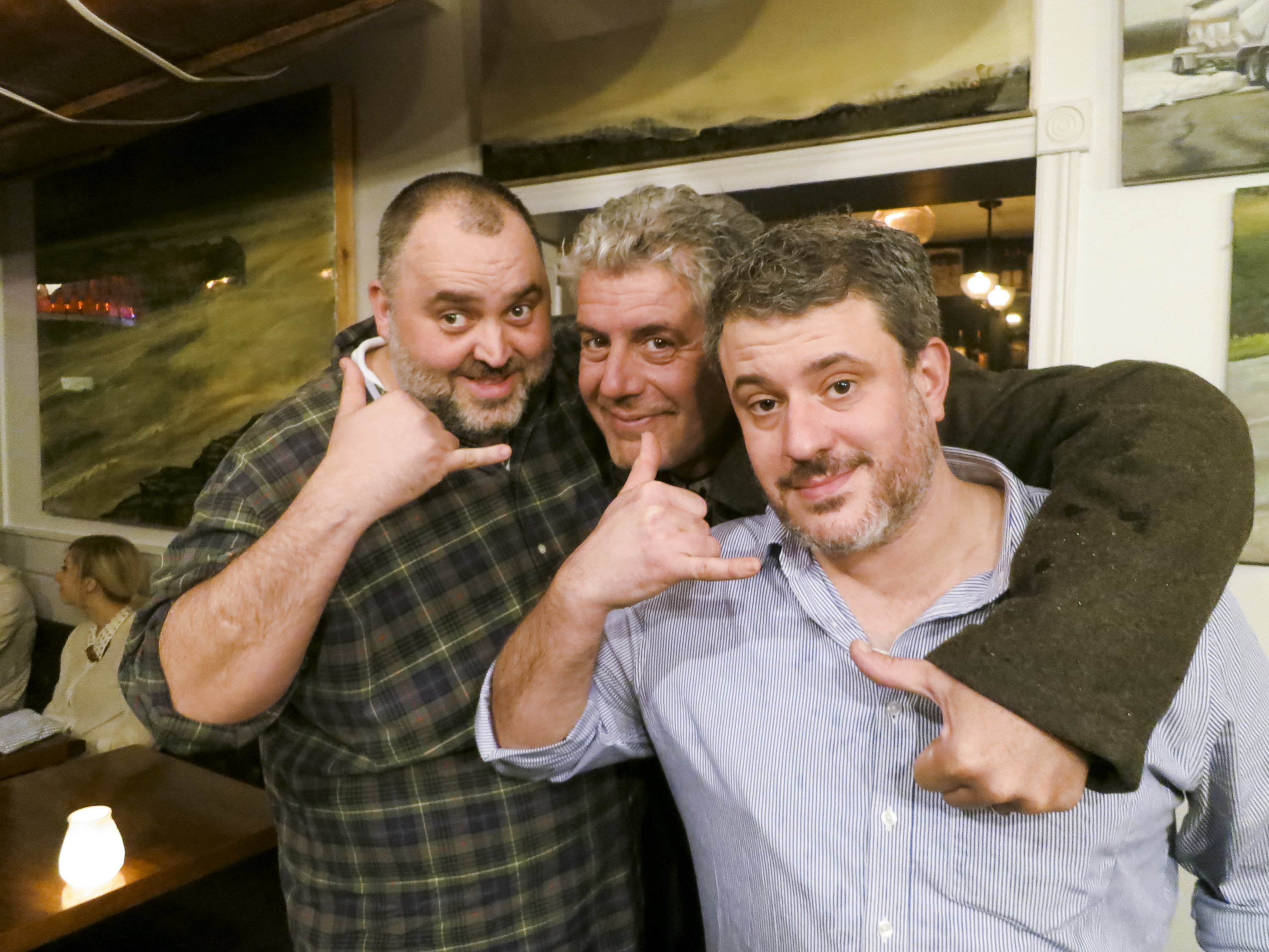 1: Patrick Lagacé / 2: Bourdain with David McMillan and Fred Morin.