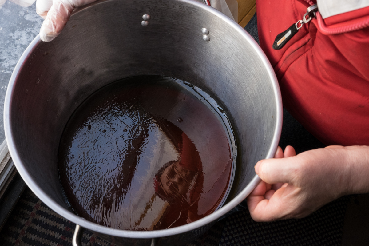 The boiling process is what gives syrup its distinct golden color.