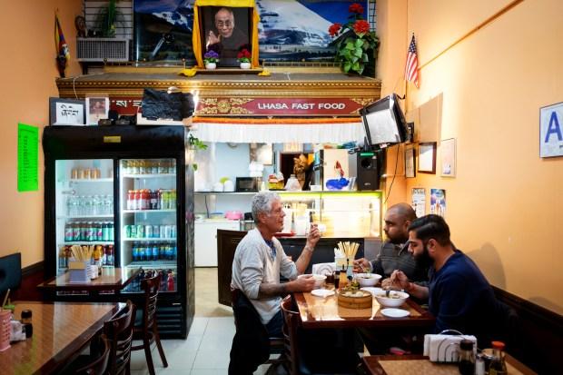 Bourdain with Ali Najmi and Heems at Lhasa Fast Food.