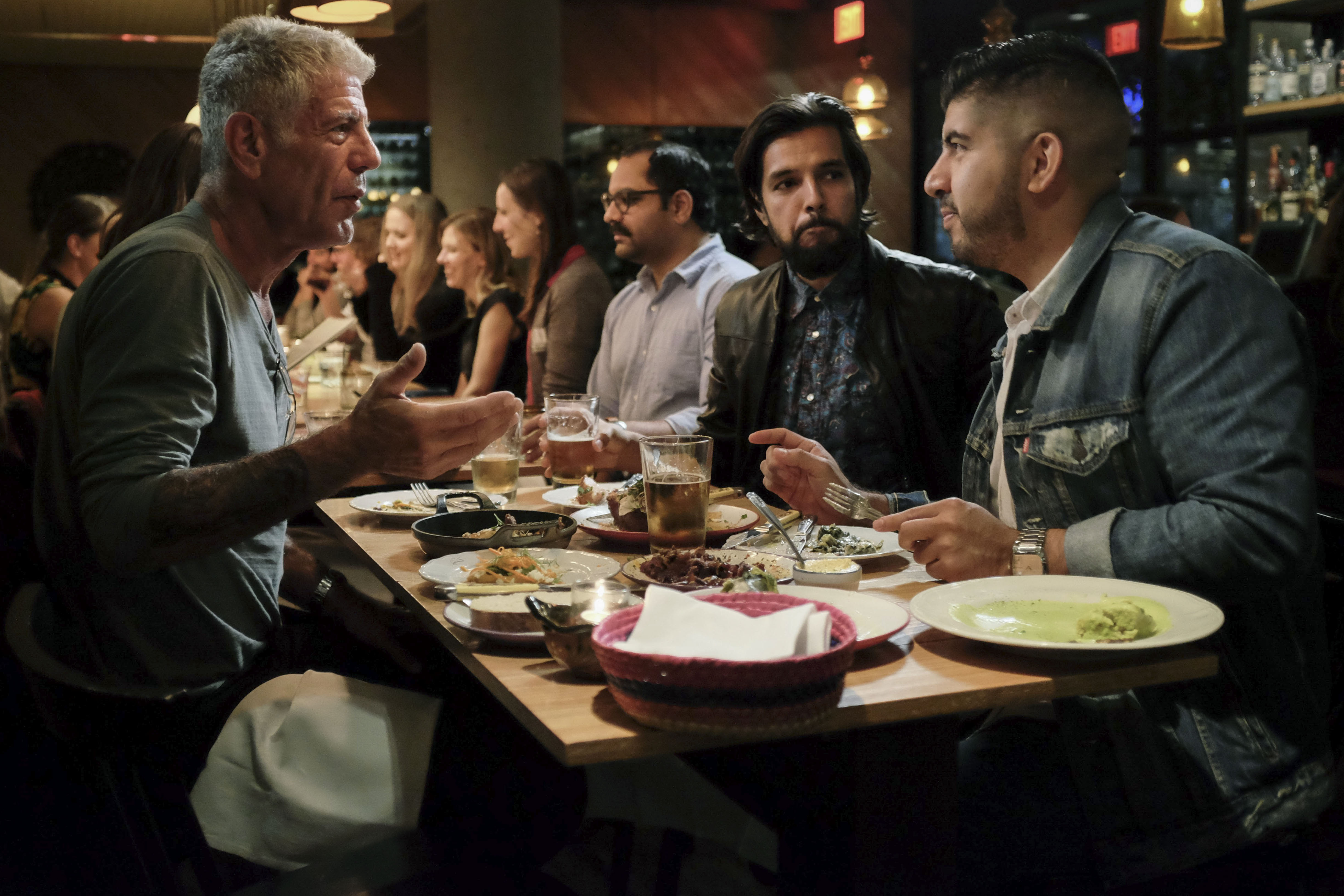 Bourdain with Eduardo Ruiz and Robin Chopra at Broken Spanish.
