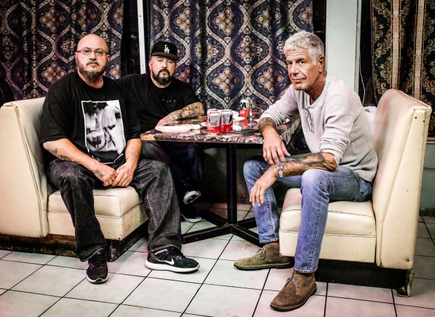 Bourdain with Estevan Oriol and Mister Cartoon at La Reyna.