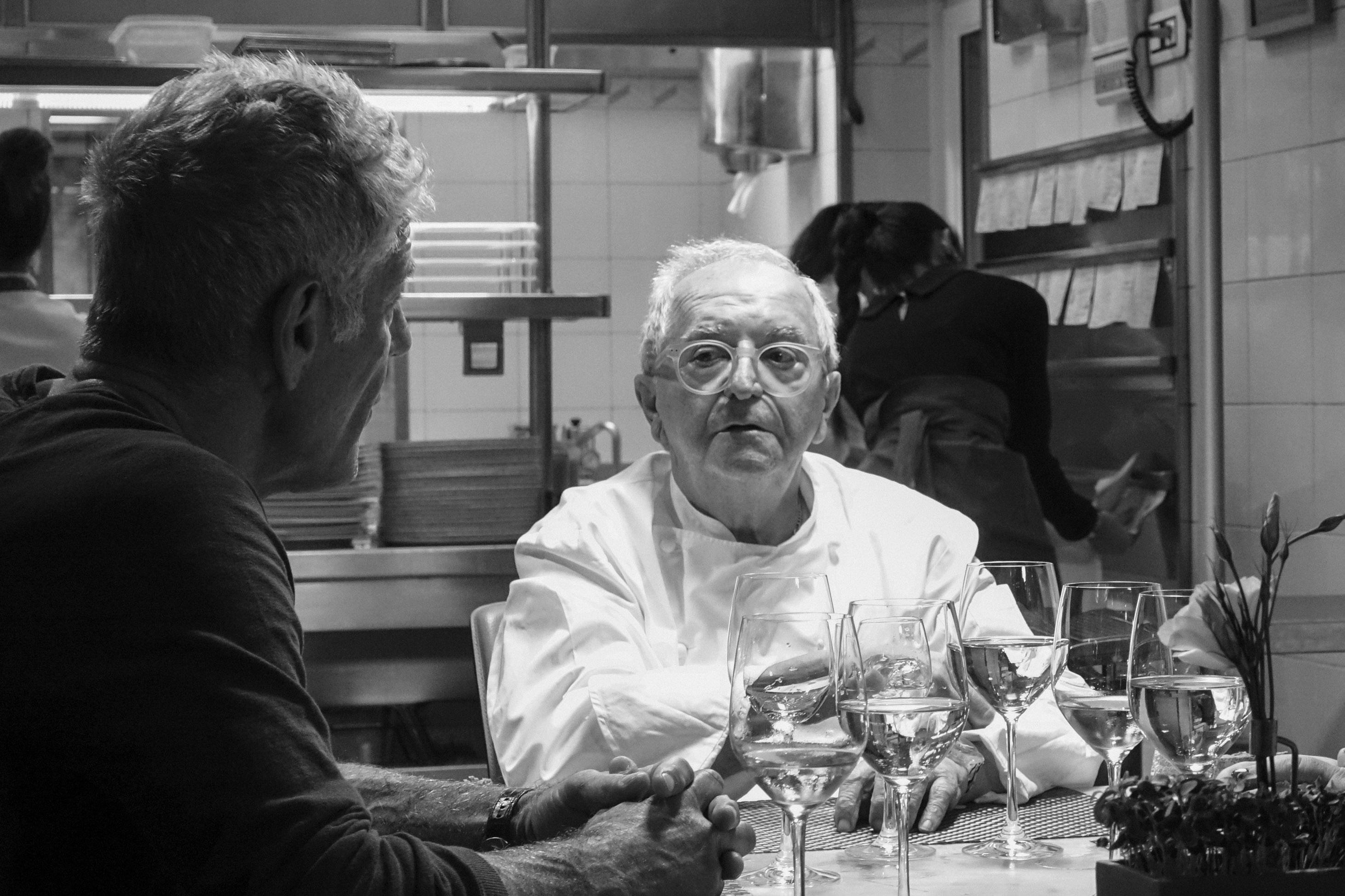 Juan Mari Arzak joins Anthony Bourdain for dinner at his own restaurant, Arzak.