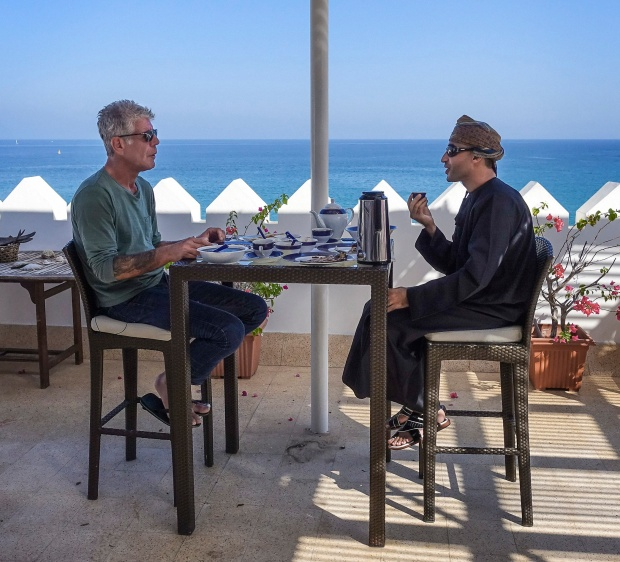 Bourdain with Sheikh Zayed bin Sulaiman al-Ghafri at his rooftop terrace in Qantab.
