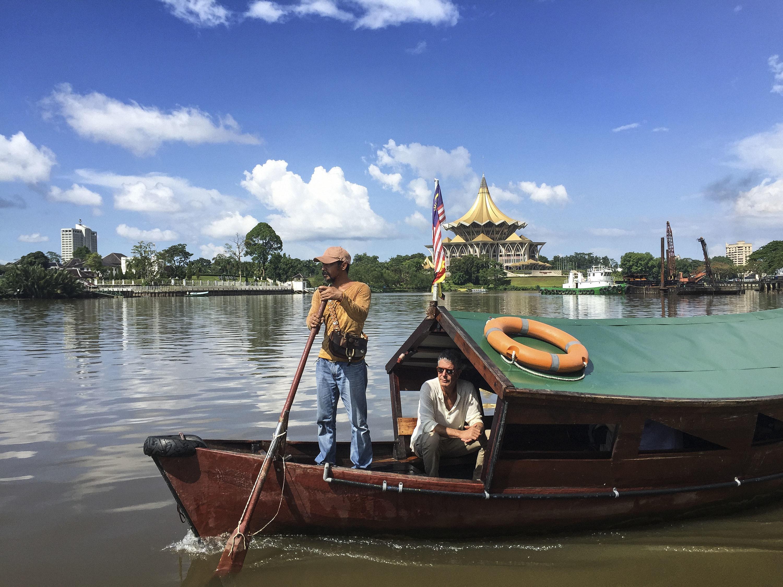 Crossing the Sarawak River in Kuching.