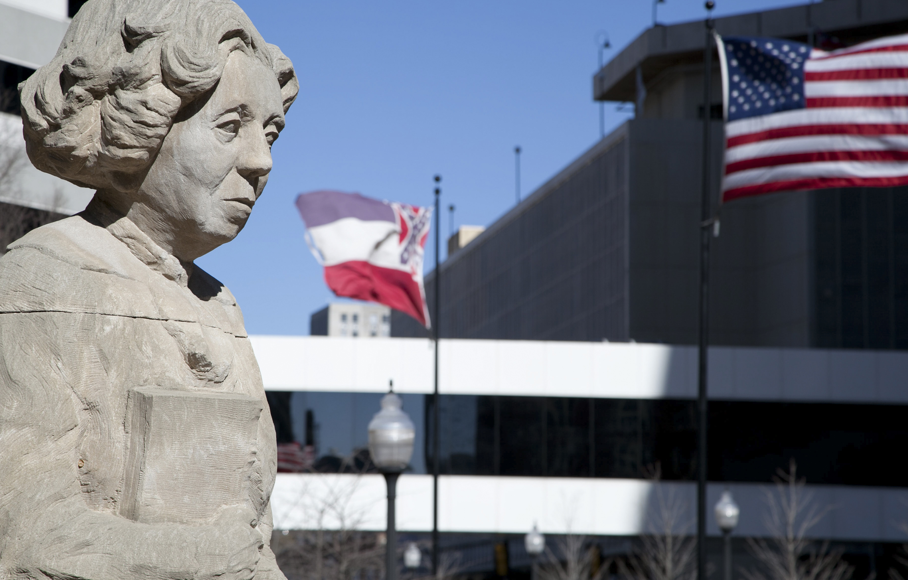 Eudora Welty statue in downtown Jackson.