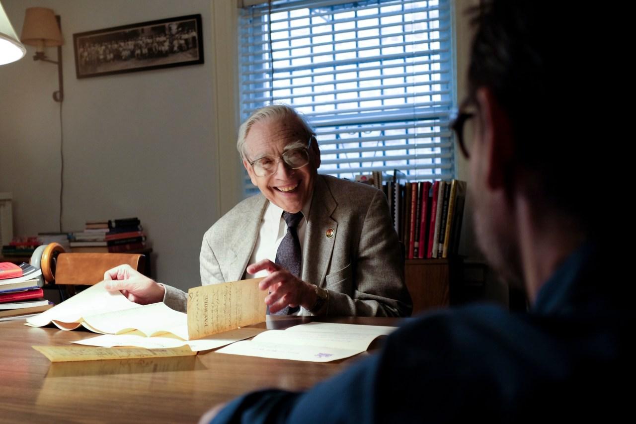The historian, Lloyd Ultan, at his desk.
