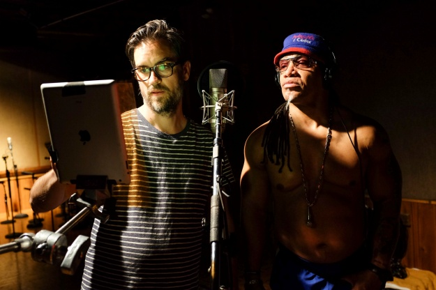 Grandmaster Melle Mel at work in the studio.
