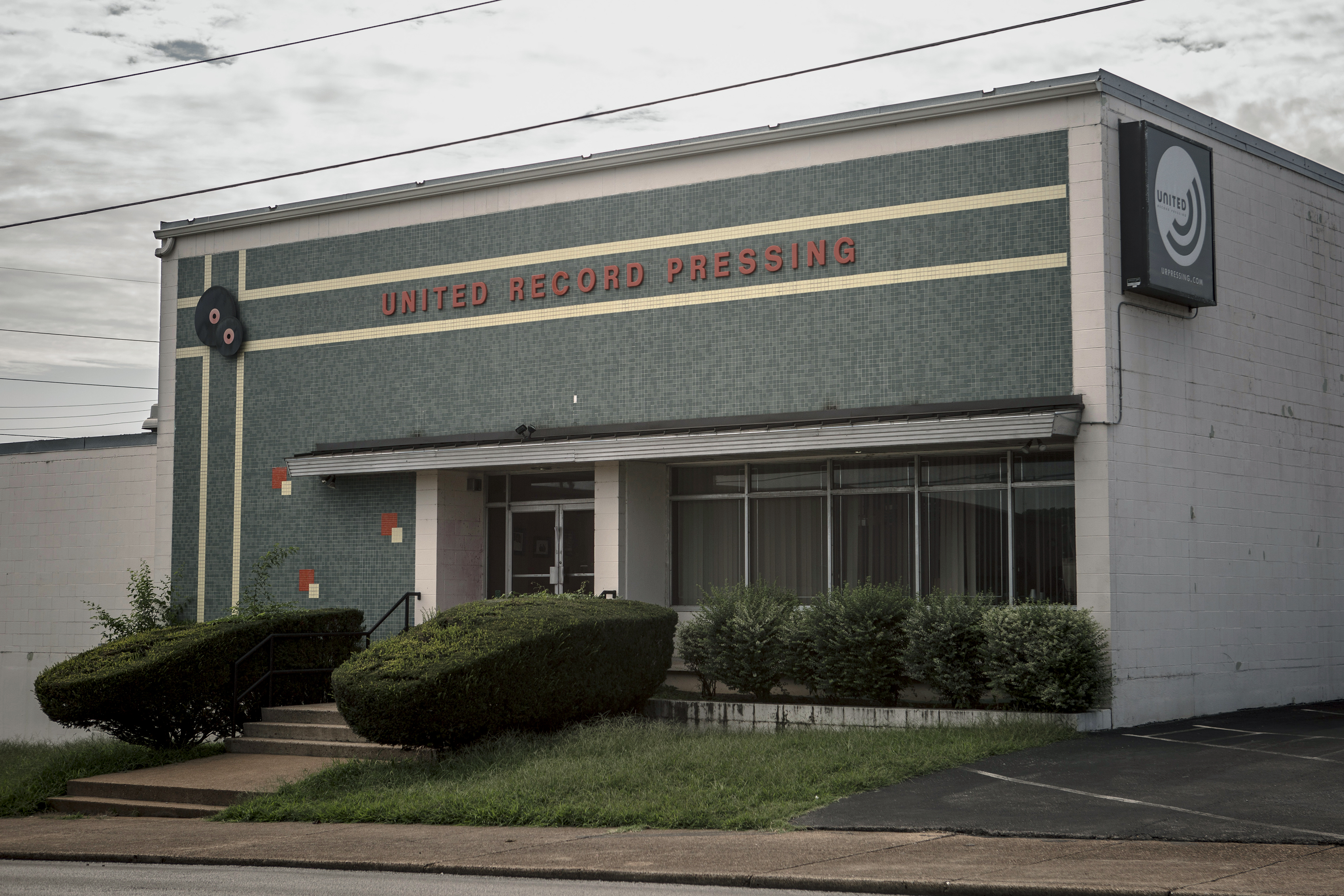 "The exterior of the old United Record Pressing building at 435 Chestnut Street in Nashville. Motown Records is one of the company's largest clients and, during segregation, recording artists of color that came to Nashville stayed in what was called the ""Motown suites"" in this building's second floor."