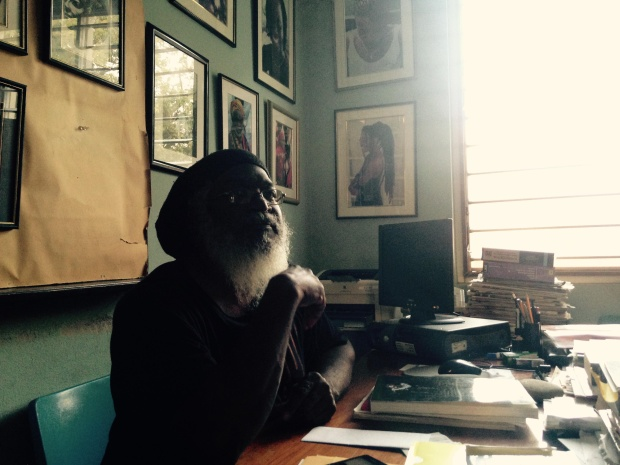 Clinton Hutton in his office at the University of West Indies. (Photo by Saxon Baird)