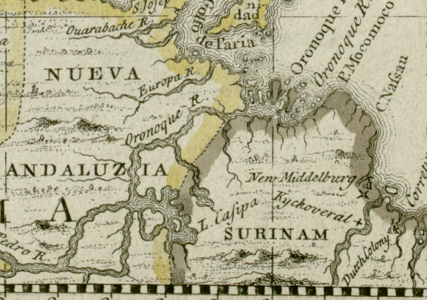 The Orinoco River from a section of a map from the Darlington Collection dated 1680. (courtesy of Wikimedia Commons)