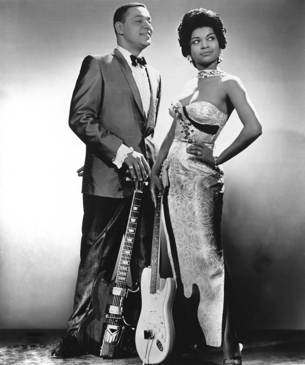 Rhythm and blues duo Mickey and Sylvia (Mickey Baker and Sylvia Vanderpool) pose for a portrait in 1958 in New York City. (Photo by Michael Ochs Archives/Getty Images)