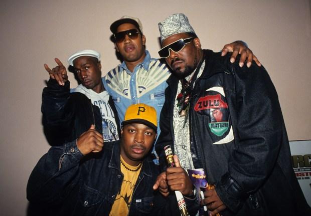 Grandmaster Flash, DJ Kool Herc, Afrika Bambaataa and Chuck D attend Columbia University's Rap Summit in November 1993 in New York City. (Photo by Kevin Mazur/WireImage)