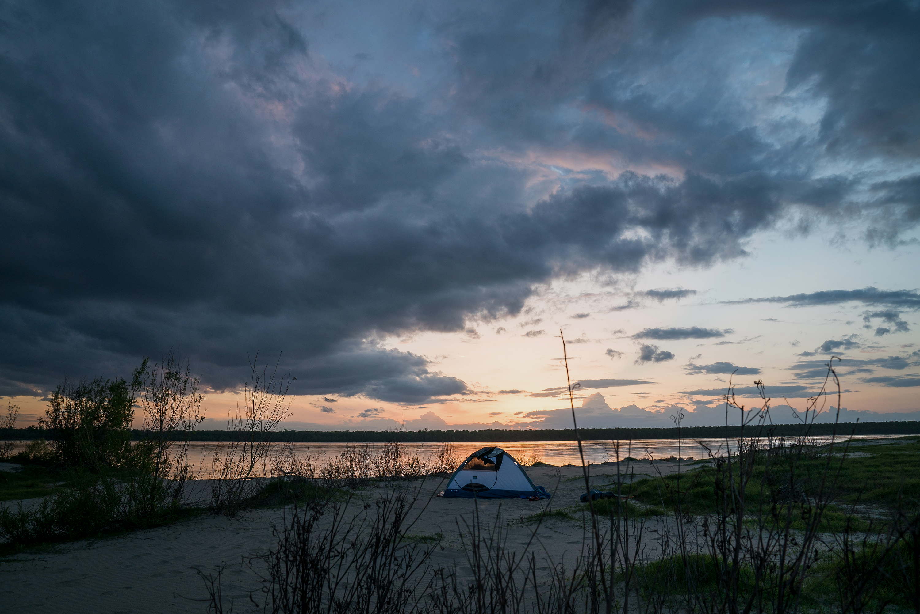 The sun sets over the author's campsite.