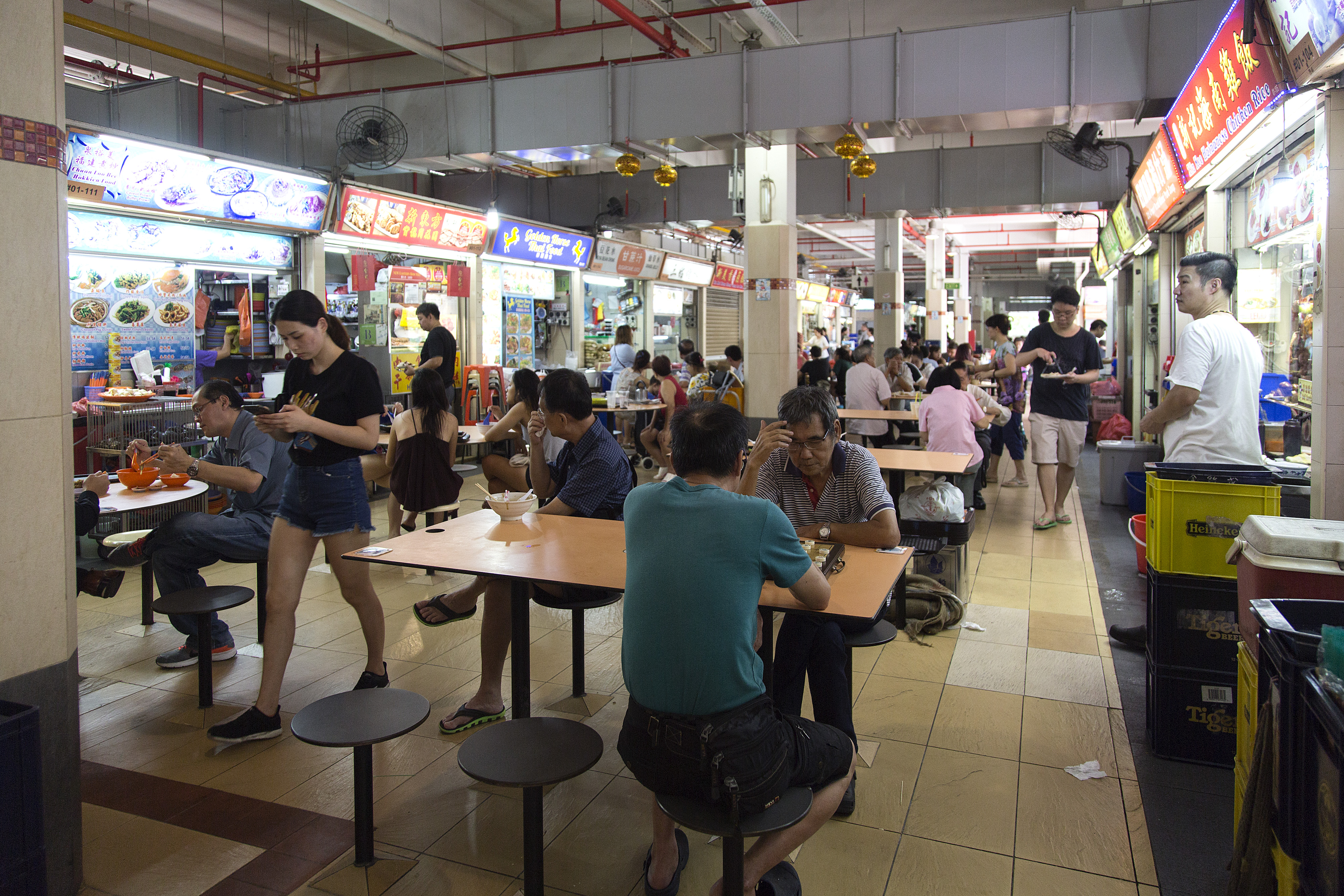 Customers at Old Airport Road Food Centre.