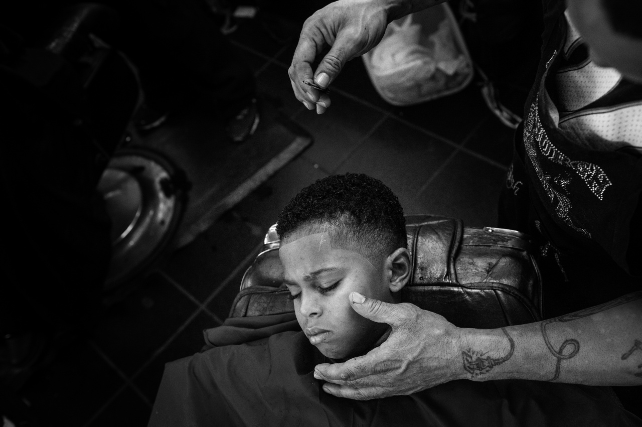 A young customer at Dave's Barber Shop.
