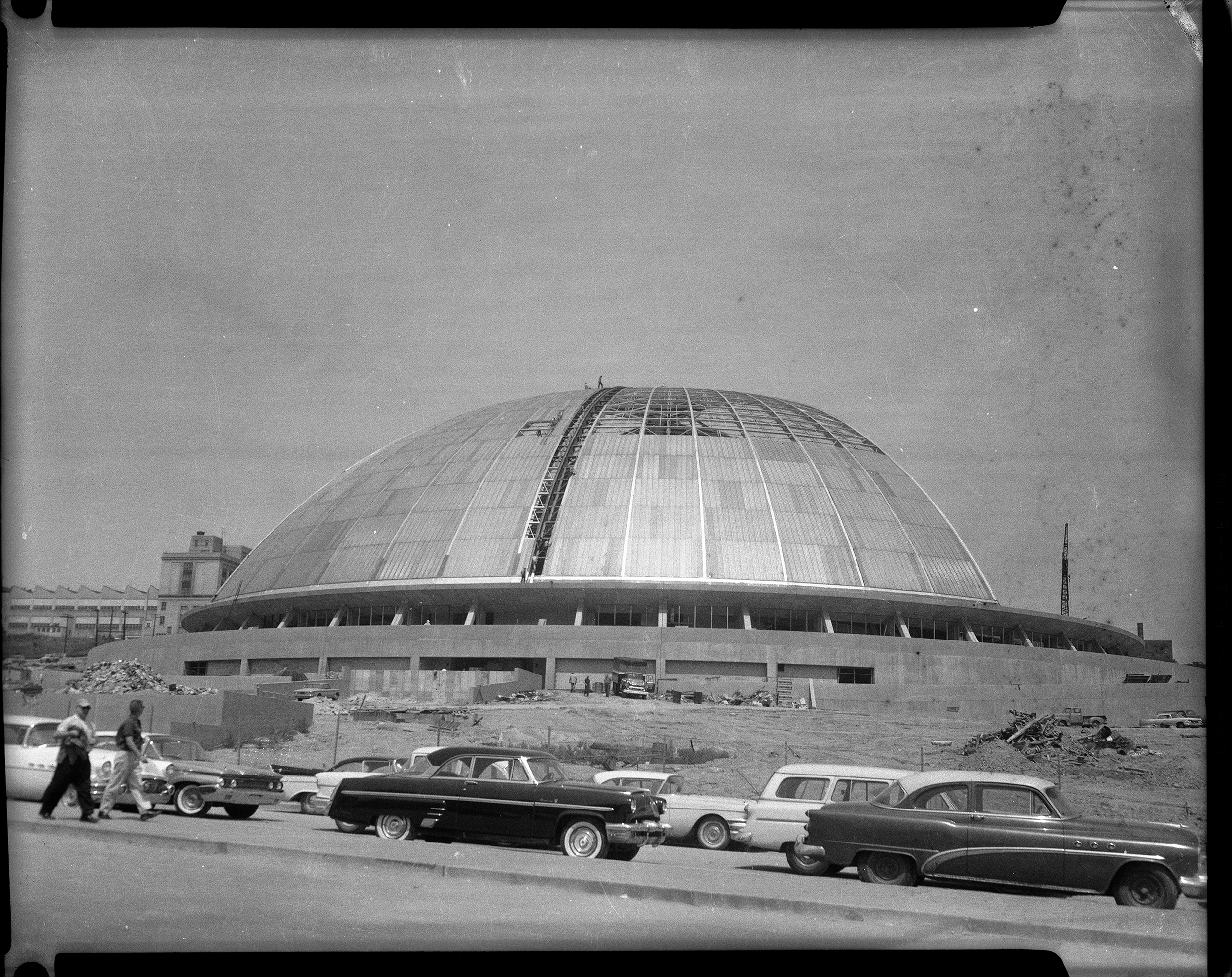 "Construction of The Civic Arena in Pittsburgh's Lower Hill District c. 1960-1961. (Photos by Charles ""Teenie"" Harris/Carnegie Museum of Art via Getty Images)"