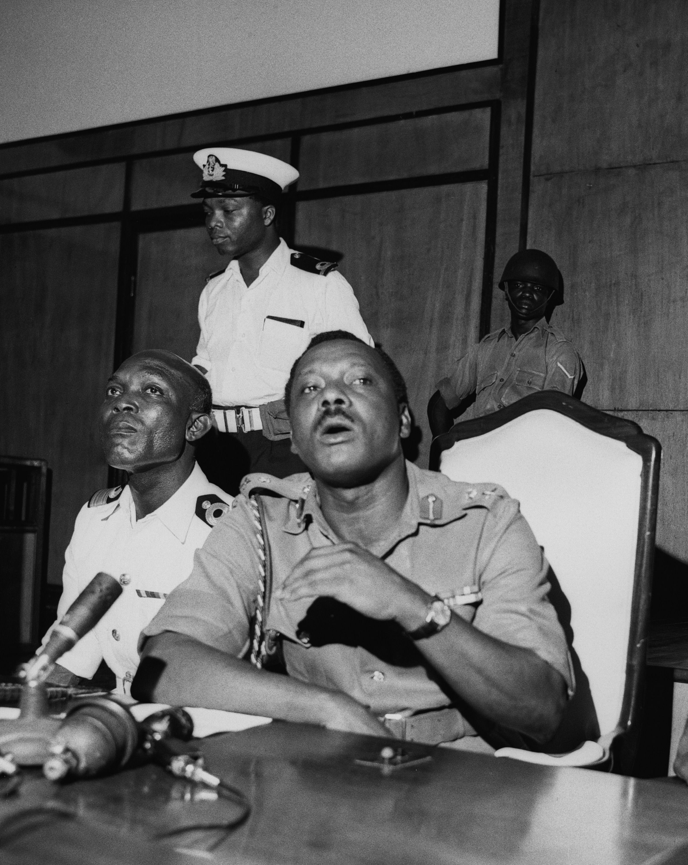 1. Major General Johnson Aguiyi-Ironsi in Nigeria, c. 1966. (Photo by Norman Potter/Stringer via Getty Images) / 2. Colonel Odumegwu Ojukwu, c. 1966. (Photo by Keystone Features/Hulton Archive via Getty Images)