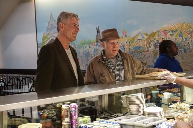 Bourdain and Bruce Cameron Elliott in Chicago.