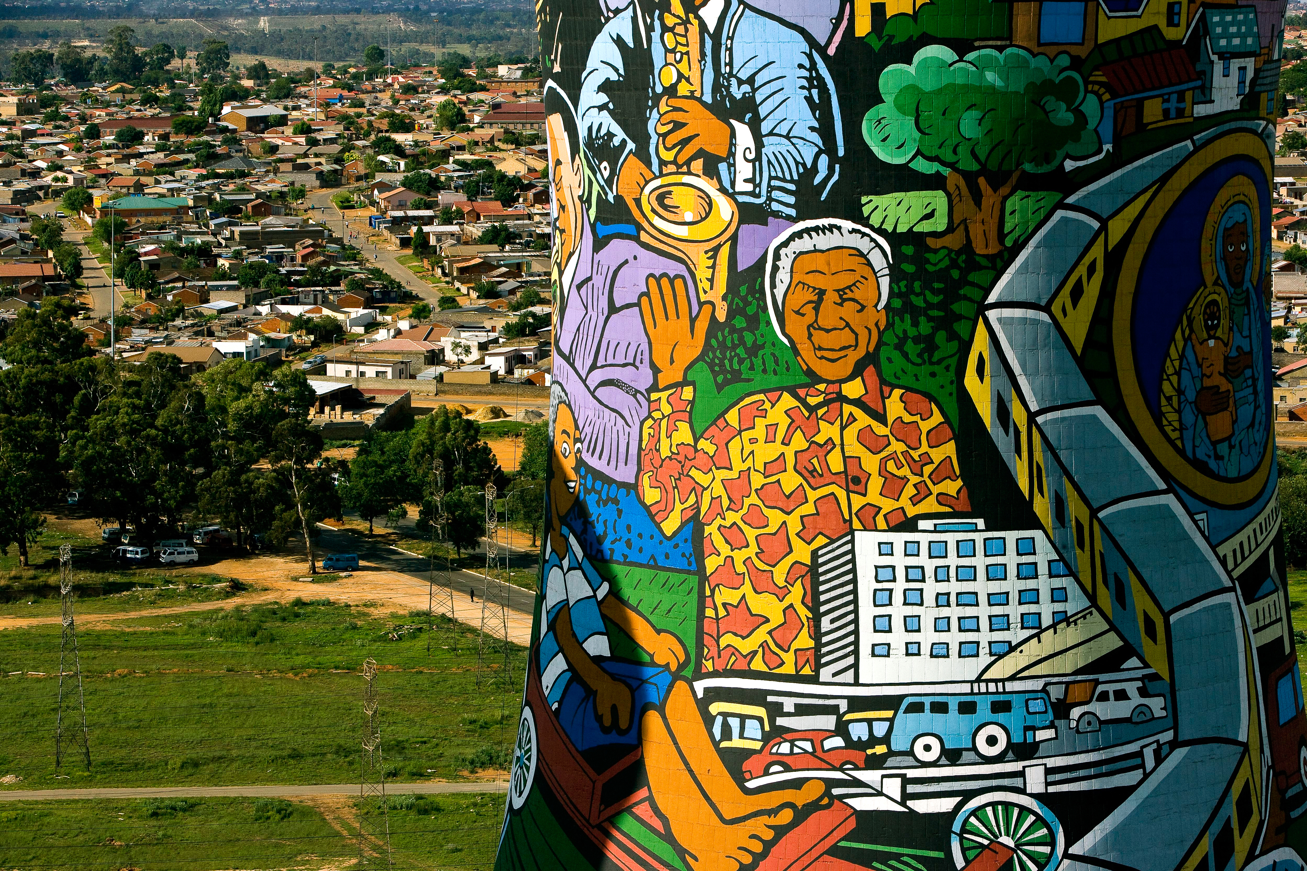 Portrait of Nelson Mandela on a cooling tower of the Orlando Power Plant in Soweto, City of Johannesburg, Gauteng province, South Africa. (Photo by Yann Arthus-Bertrand via Getty Images)