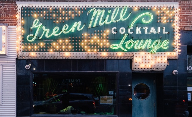 The one of the bands-in-residence, Alfonso Ponticelli & Swing Gitan, performing at the Green Mill.