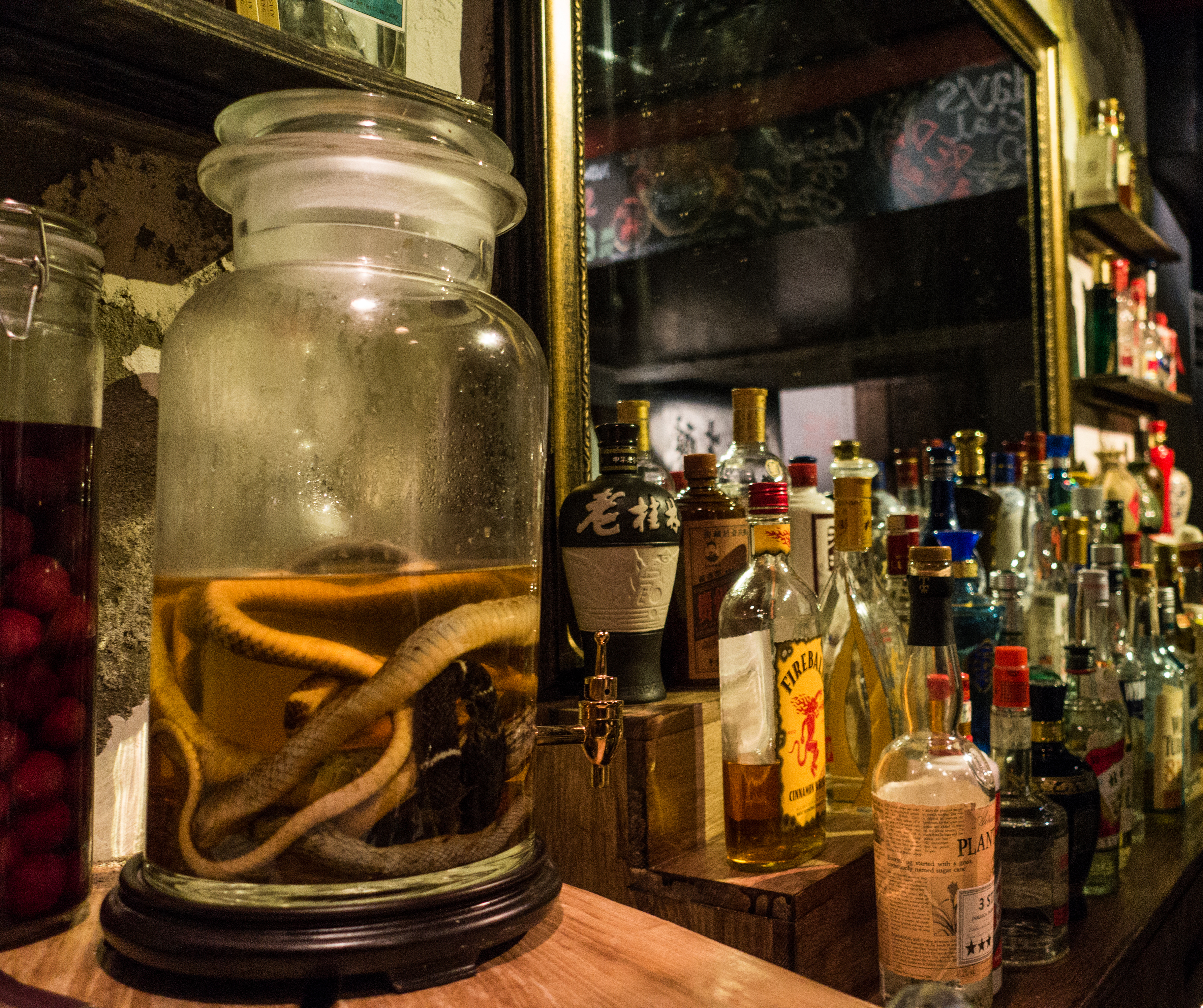 Photo 1: A snake flavored baijiu stands behind the bar at Capital Spirits. Photo 2: At a restaurant in Chengdu a worker prepares to down a shot of baijiu.