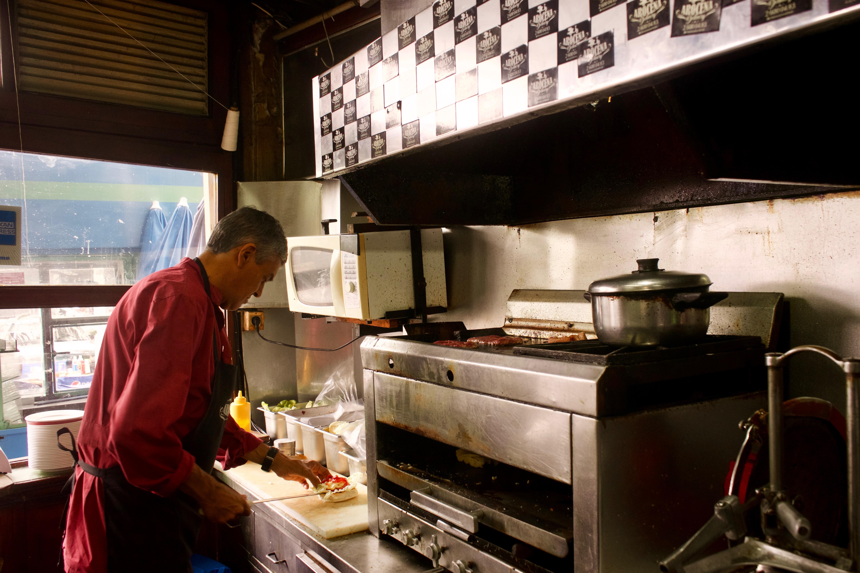 Chivito preparation at Bar Arocena in Montevideo.