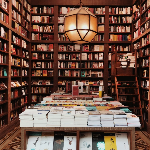 The Escaramuza is a beautiful high-ceiling bookstore and cafe located near Parque Rodo Park.