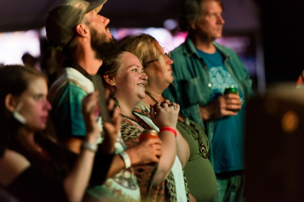 Photo 1: Fans enjoy the music at Harfest. Photo 2: Danny Moore of the Brokedown Hustlers.