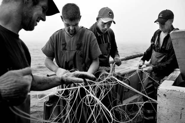 1: Deckhand Daryl sleeps in his bunk on the trawler. 2: Fishermen (L-R: Kenny, Jeff, Daryl, and Charlie) on a commercial swordfish trawler untangle a longline.