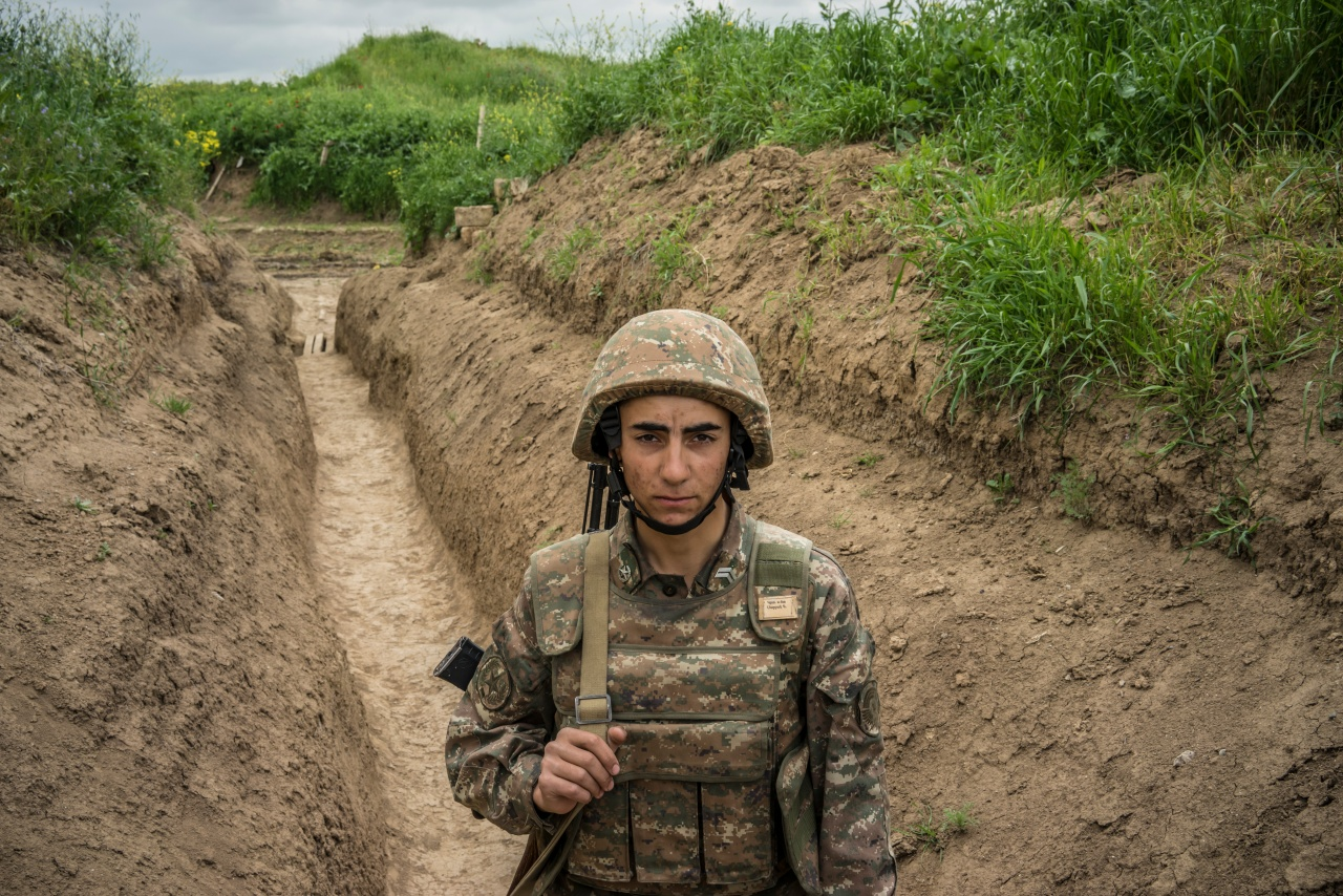 A member of the armed forces of Nagorno-Karabakh along the line of contact with Azerbaijani forces near the town of Agdam.