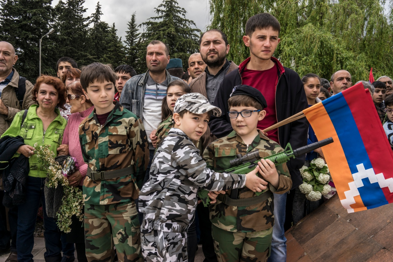 Armenian children at a military parade commemorating the Soviet victory in World War II and the recapture of Shushi from Azerbaijan.