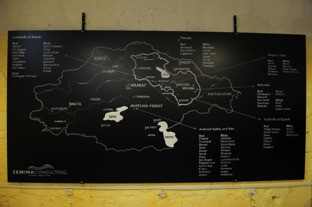 A map showing the locations of ancient grape varieties found throughout historic and modern-day Armenia. Photo by: Karen Minasyan