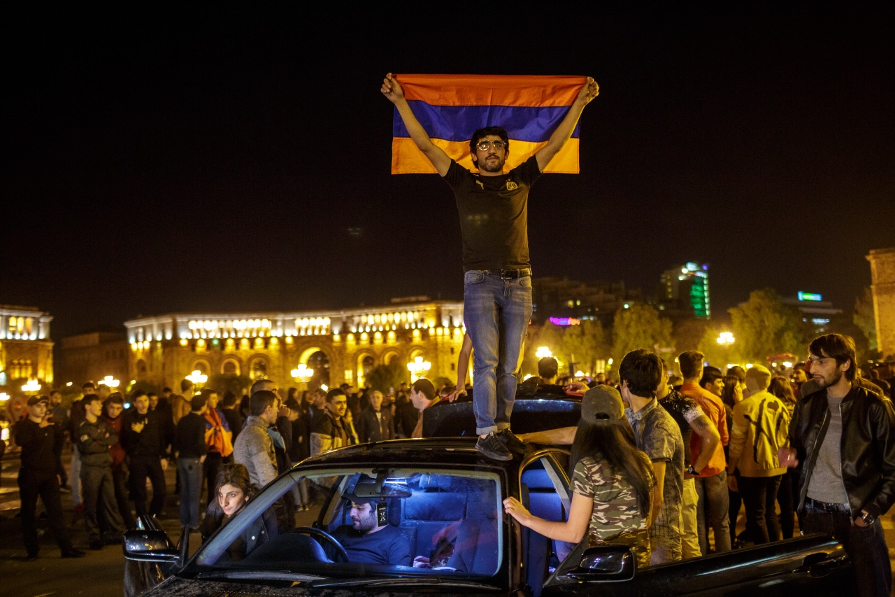 People celebrate in Yerevan's Republic Square after Prime Minister Sargsyan announced his resignation.