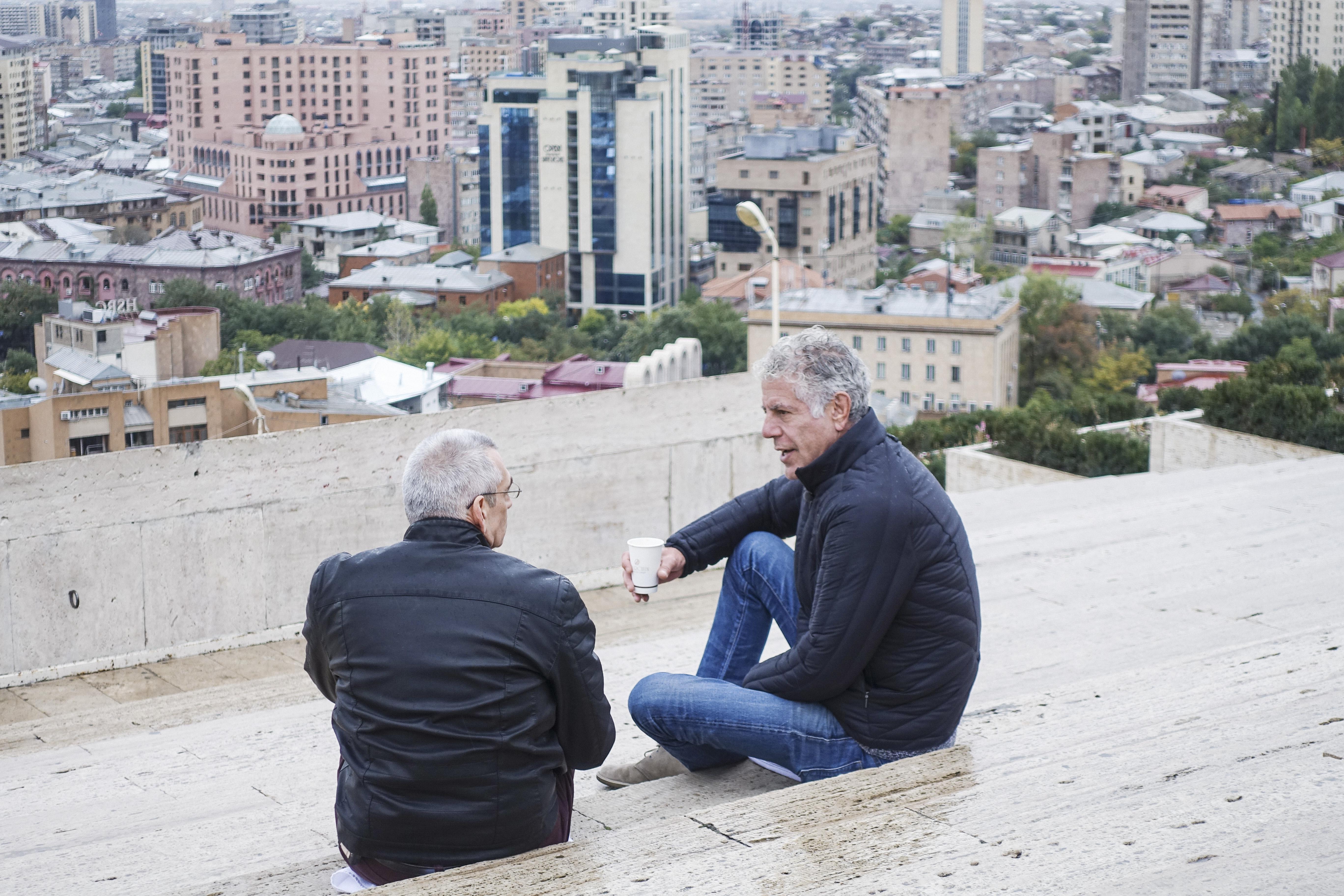 Tony and Giragosian talking in Yereven. Photo by Josh Ferrell.