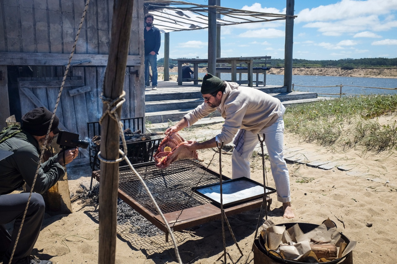 "Ignacio ""Nacho"" Mattos cooking on the beach in Jose Ignacio, Uruguay."