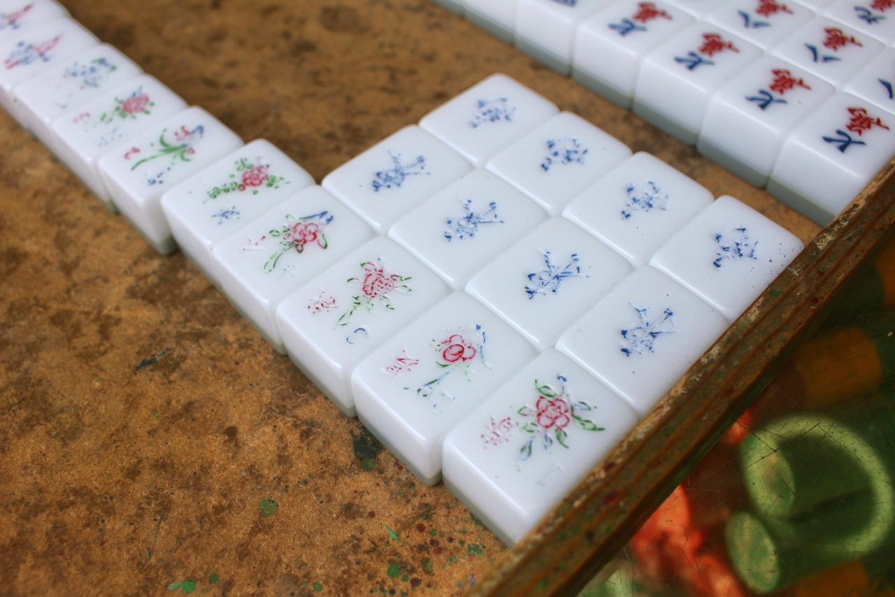 Mahjong tiles before they get another coat of paint.