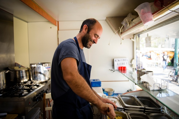 "Radwan sells a classic Egyptian street food dish named ""koshary"" from his food truck in Berlin."