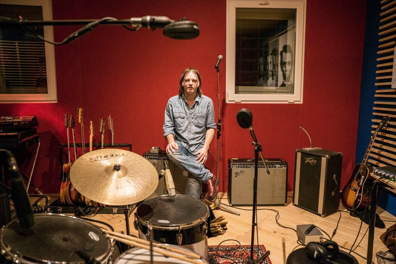 Anton Newcombe in his studio. Photo by David Scott Holloway.