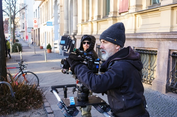 Director of photography Jeremy Leach (right) and assistant cameraman Josh Flannigan (left) film B-Roll in Berlin. Photo by Josh Ferrell.