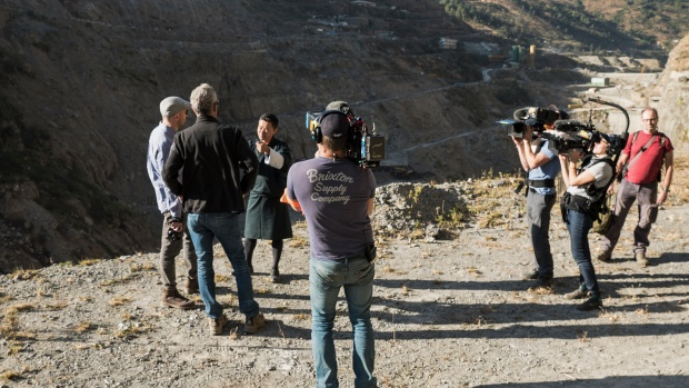 The crew films Aronofsky and Bourdain in Bhutan.