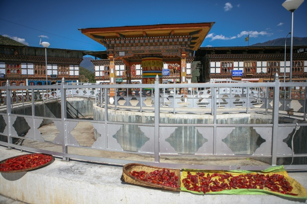Chilis are laid out to dry in Paro's town center.