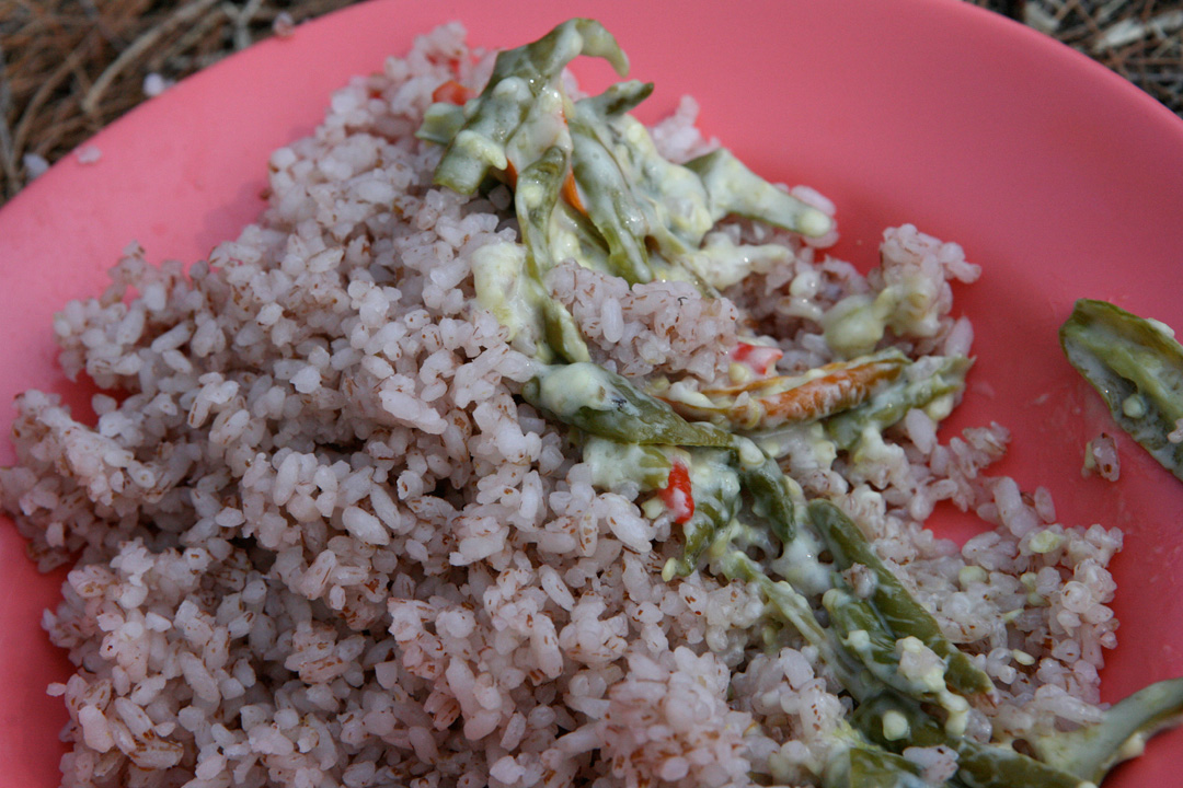 The national dish: ema datsi (chilis and cheese) with red rice.