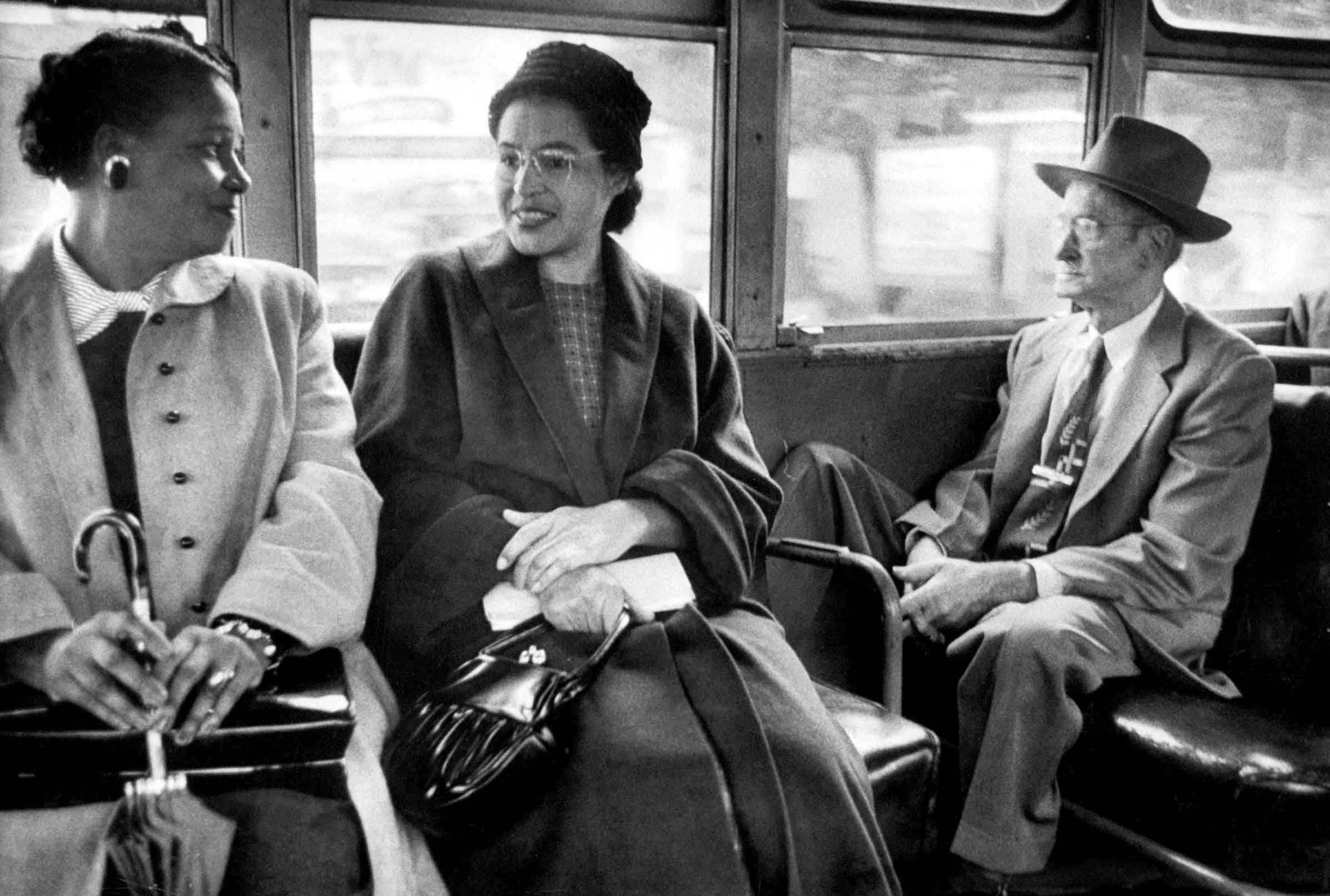 Parks riding on a newly integrated bus. Photo by Don Cravens/The LIFE Images Collection via Getty Images.