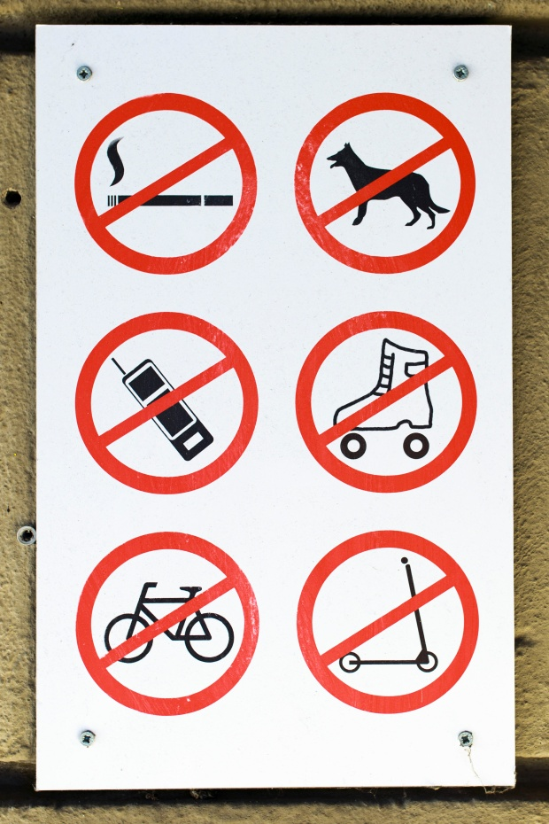 A sign in Berlin of prohibited activities. Photo by Michael Gottschalk/Photothek via Getty Images.