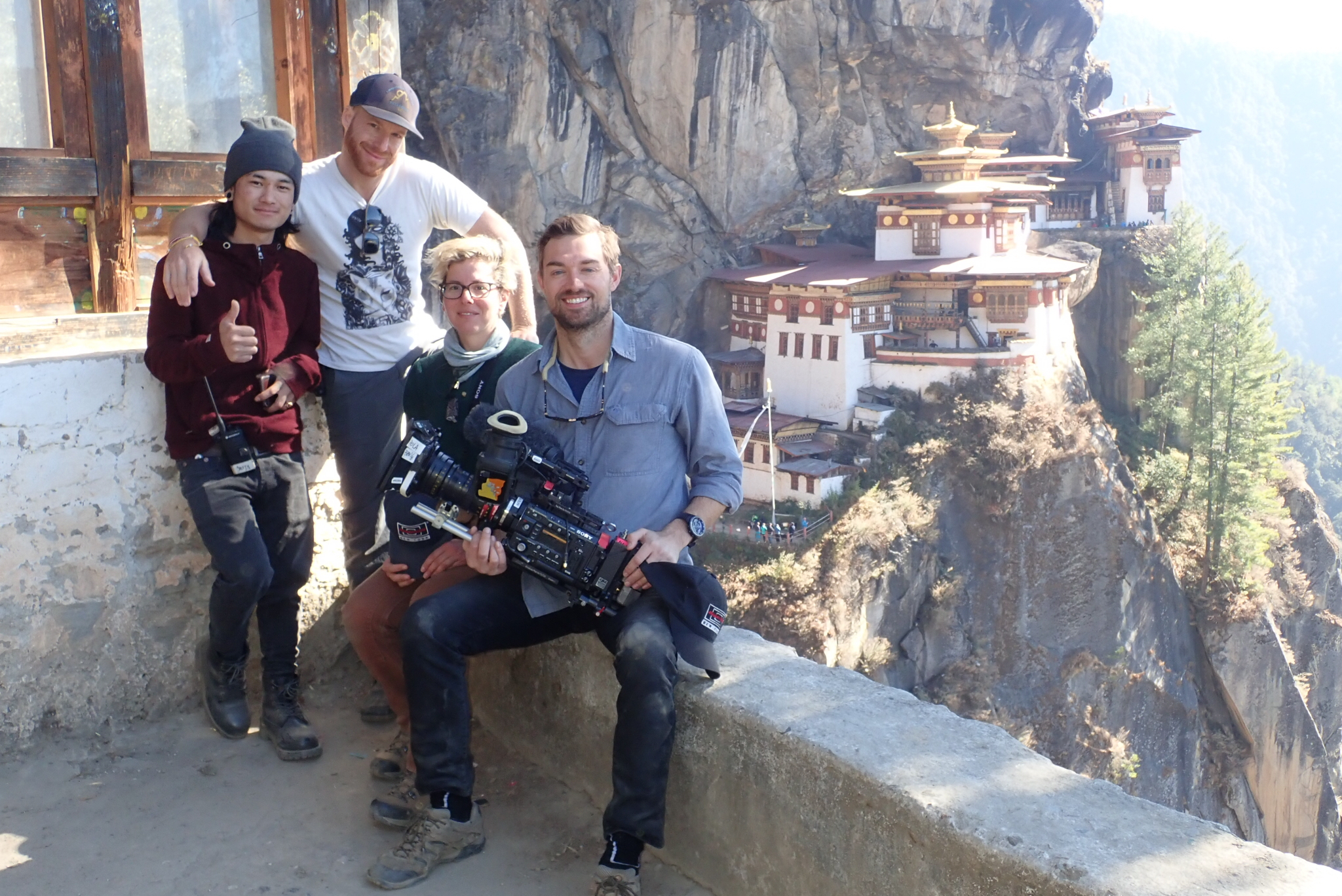 Taking a break from shooting near Paro Taktsang. Photo courtesy of Joshua Flannigan.