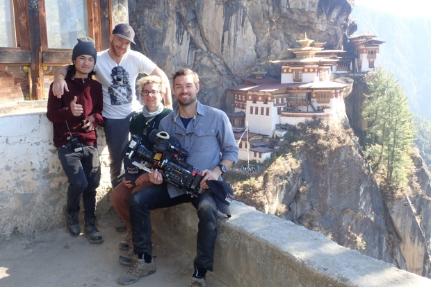 Taking a break from shooting near Paro Taktsang. Photo courtesy of Joshua Flannigan.