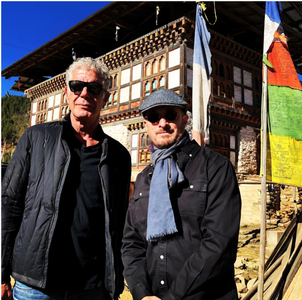 Bourdain and Aronofsky in Bhutan. Photo by Tom Vitale.